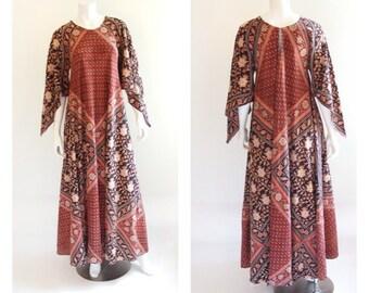 Vintage 1970s Adini Cotton Hippie Indian Festival Gypsy Maxi Dress . SML .