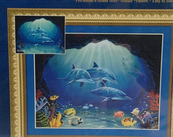 CAVE EXPLORERS Dolphins Porpoise - Cross-Stitch EMBELLISHED Kit - Ocean, Fish, Underwater