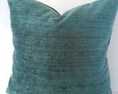 Peacock Teal Pillow Cover / Geometric Teal Blue Pillow Cover / Squares / Lumbars and Euro Shams