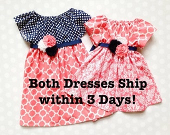 Girls Spring Dresses - Sister Dresses - Matching Dresses for Sisters - Easter Dresses for Girls - Baby Girl Dresses - Coral Pink and Navy