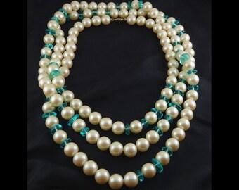 "MONET Large Faux Pearls & Aqua Glass Beads 62"" Long Necklace"