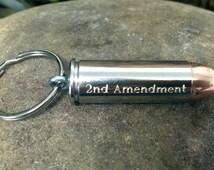 Engraved Bullet Key Chain, Colt 45 Bullet Key Chain, 2nd Amendment Key Chain, Second Amendment Key Chain, Bullet Keychain, Bullet Keyring