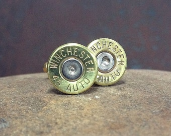 Bullet Cufflinks / Winchester 45 Auto Brass Bullet Cufflinks WIN-45A-BN-CL / Wedding Cufflinks / Custom Cufflinks / Quantity Discounts!