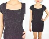 90's BLACK Sparkly Mini DRESS Bodycon. Party Club Dress. LBD Glittery