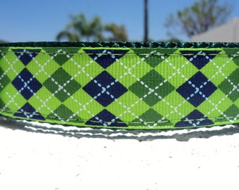 """Sale Dog Collar Lime Argyle 1"""" width side release buckle adjustable - martingale style is cost upgrade"""