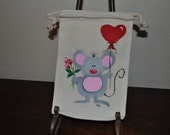 Valentine Love Gift Muslin Hand Painted Gift Wrap Treat Bags