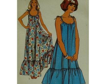 "Long Sundress Pattern, Tie Shoulders, Drawstring Neck, Ruffle Hem, Short/Long, Style No. 1927 Size 12 (Bust 34"" 87cm)"