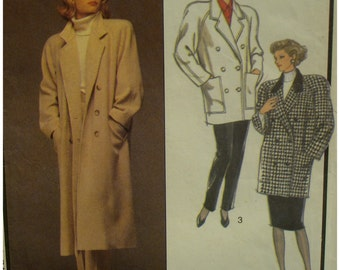 "Double Breasted Coat Pattern,Raglan Sleeves, Notched Collar, Lined, Welt/Patch Pockets, Style No. 4868 Size 10 12 14 (Bust 32.5-36"" 83-92cm)"