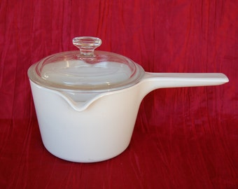 Vintage Corning Ware M 68 B Double Spout 1 Quart 1 Liter Saucemaker with Lid