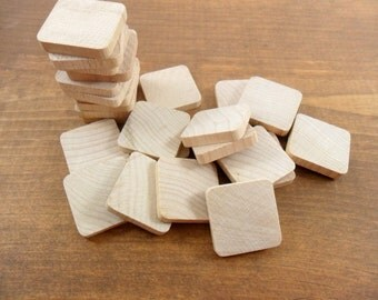 """30 Squares 1"""" x 1"""" x 3/16"""" Rounded Corners Unfinished Wood Tiles"""