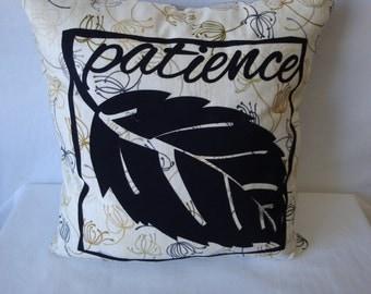 Patience  applique pillow, medium size pillow, home decor, home and living, appliqued pillow, black and white pillow, decorative pillow