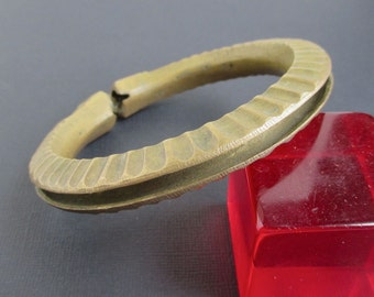 "Heavy Bangle Bracelet - Vintage African, Handmade Solid Brass - 8"""