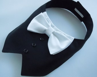 Tuxedo/Tux collar bib-style bandana for dogs or cats - custom made to order
