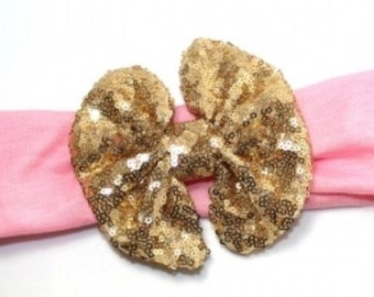 SALE LAST ONE Gold Sequin Headband, Messy Bow Headband, pink and gold headband