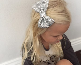 Sequin Hair Bow, Silver Bow, Silver Sequin Bow, Sparkle Clip