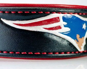 Sports Leather Dog Collar Patriots Dog Collar Handstitched Padding Personalized Leather Collar with Name Dog Collar Engraved Tooled