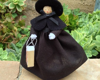 Halloween clothespin doll, witch's costume, black dress trick-or-treat bag - ready to ship!