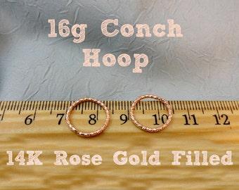 Rose Gold Filled Fancy 16g  Conch Hoop