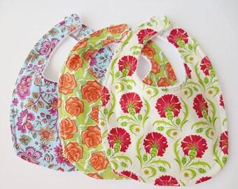 Terrycloth Baby Bib Set - 3 Floral Bibs - Free Shipping