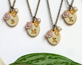 Bridesmaid Letter Necklace, Set of 6, Vintage Pink Rose, Wedding Jewelry Set, Color Personalized, Bridesmaid and Flowergirl coordinated Gift