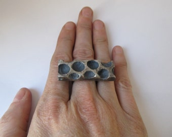 Bubble Wrap Ring Cast Silver