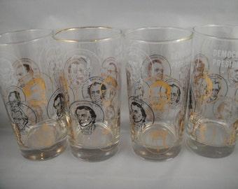 Democratic Presidents Portrait Glasses Set of 4 through Truman