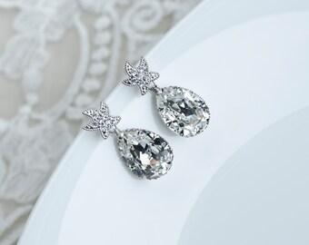 Starfish Earrings, Cubic Zirconia Starfish Stud Earrings and Large Crystal Clear Swarovski Teardrop Earrings, Beach Wedding,Nautical Wedding