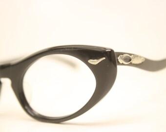NOS Black cat eye glasses vintage cateye frames eyeglasses NOS