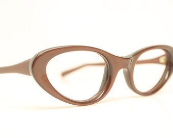 NOS Red / Brown cat eye glasses vintage cateye frames eyeglasses NOS