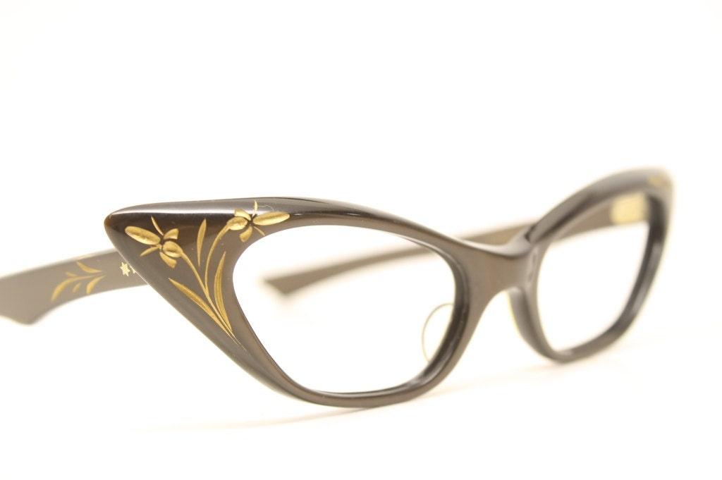 Brown Floral cat eye glasses vintage cateye frames eyeglasses