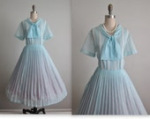 50's Shirtwaist Dress // Vintage 1950's Baby Blue Pintucked Garden Party Picnic Shirtwaist Dress XL 1x Volup