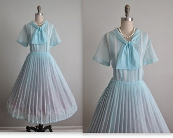 50's Shirtwaist Dress // Vintage 1950's Baby Blue Pintucked Garden Party Picnic Shirtwaist Dress XL 1x Volup