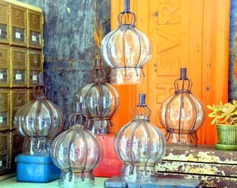 6 Blown Glass Lanterns / Sconces / Gaslight Covers / Candleholders: Set of Six Elegant Curvy Matching Onion Dome Turret Chandelier Fixtures