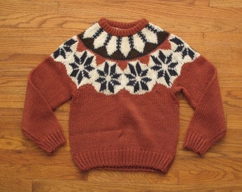 women's vintage  hand knit snow flake sweater