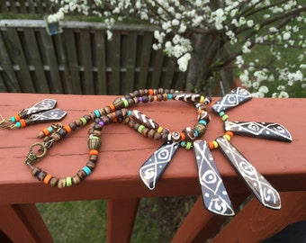 Hand painted necklace earrings set, carved wood, earth tone. Tribal, African, Native jewelry