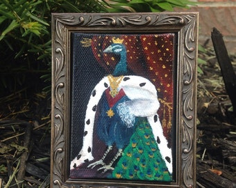 PeaKing -- Royal Peacock 18th Century King OOAK Acrylic Painting