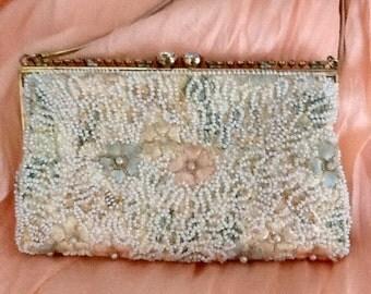 Vintage beaded seed bead and embroidered handbag, evening bag