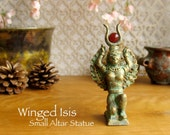 Small Winged Isis/Auset Altar Statue - Handcrafted Clay Figure with Brass and Gold Patina and Carnelian Solar Disc - Queen of the Throne