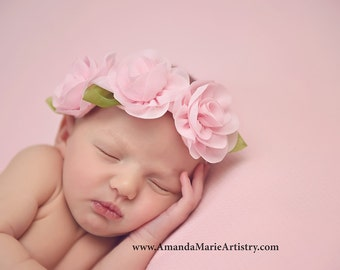 Pink Flower Headband - Pink Newborn Headband - Baby - Pink Flowers Girl Headband - Baptism Headband - Pink Flower Crown