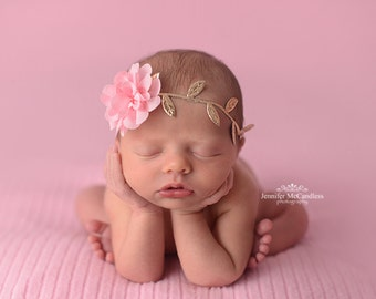 Pink and Gold Newborn Headband - Grecian Headband - Baby Gold Leaf - Golden Leaves Headband - Newborn Gold Leaves Halo