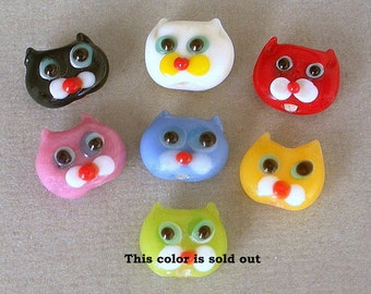 7 TINY cat face beads, lampwork glass, black, white, red, mauve, blue, yellow
