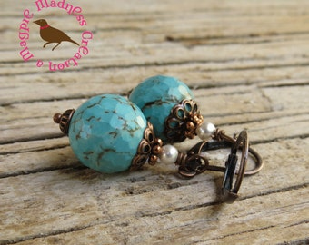 Turquoise and Pearl Copper Earrings, Rustic Turquoise Dangle, Artisan Turquoise, Wedding Turquoise, MagpieMadness for Etsy