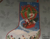 NIP 1989 Something Special Needlepoint Kit Christmas Stocking Santa in Balloon