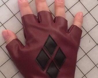 Harley Quinn Arkham City Fingerless Gloves READY TO SHIP