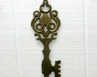 Vintage Solid Brass Key Shaped Wall Hanging