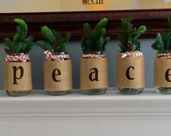 Mason jars, Christmas decor, Christmas centerpiece, mantle decor, rustic decor, farmhouse decor, old time Christmas, burlap jars, joy