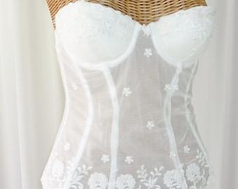 Felina Lingerie Bridal White Sheer Bustier Rayon Nylon Lace Removable Garters 34B