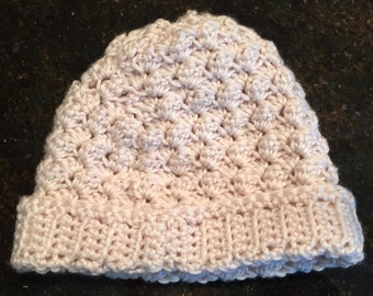 Crocheted off white toddler hat, toddler beanie, boy or girl hat