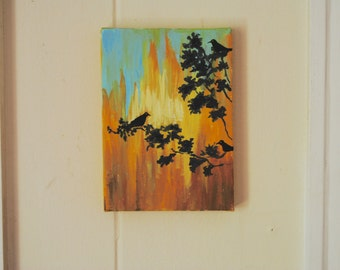 Colorful Silhouette Canvas Painting Original 5x7