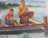 "Original Vintage School Classroom Poster Print - Circa 1965 - Fathers Day - 9"" x 12"""